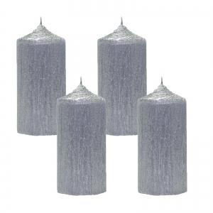 Set 4 Lumanari Argintii cilindru 13cm1