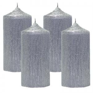 Set 4 Lumanari Argintii cilindru 13cm0