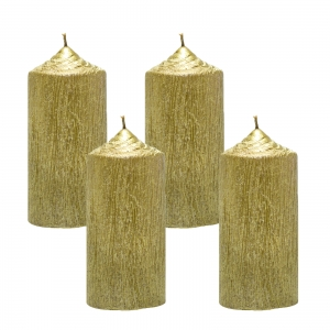 Set 4 Lumanari Aurii cilindru 13cm1