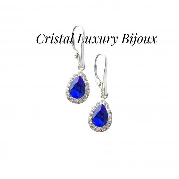 Cercei Luxury Pear cu tortita din argint si cristale Swarovski, mix alb albastru 1