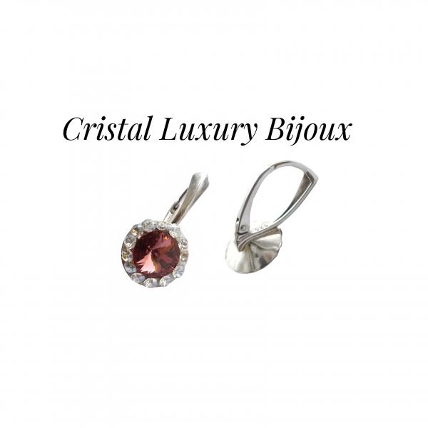 Cercei Luxury Round 12mm cu tortita din argint, cristale Swarovski mix roz antic si alb 1