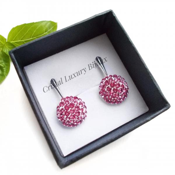 Cercei Luxury roz cu tortita lunga [0]