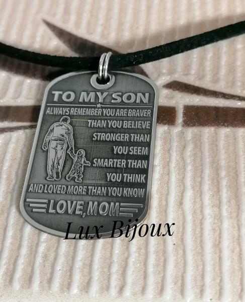 Colier cu snur si placuta army din argint TO MY SON 1