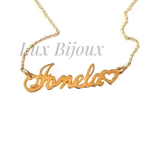 Lantisor personalizat din argint placat cu aur cu nume Ionela [0]