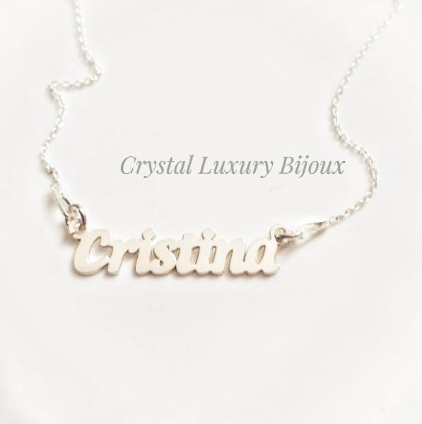 Lantisor personalizat din argint cu nume Cristina 0