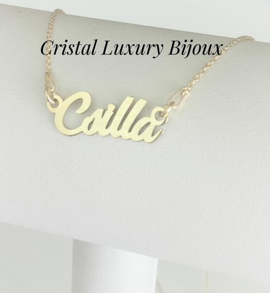 Lantisor personalizat din argint placat cu aur cu nume Csilla 1