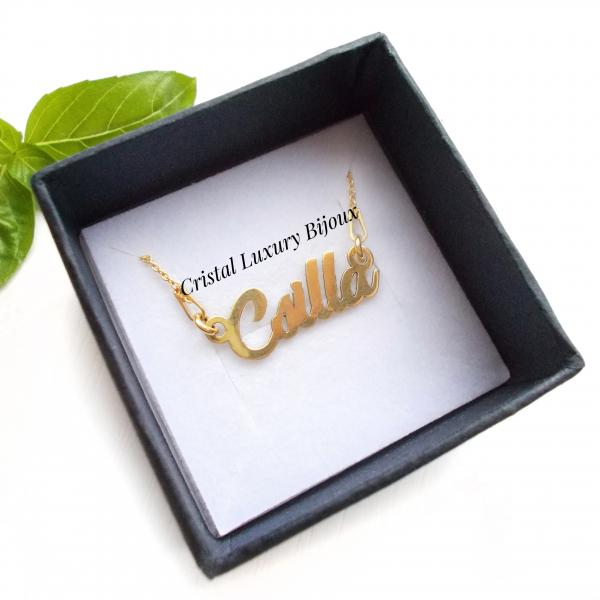 Lantisor personalizat din argint placat cu aur cu nume Csilla 0