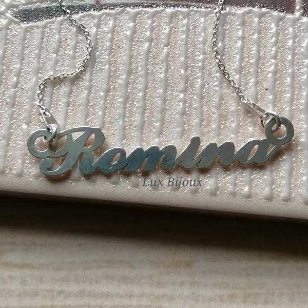 Lantisor personalizat din argint cu nume Romina 2