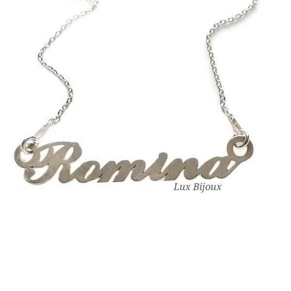 Lantisor personalizat din argint cu nume Romina 0