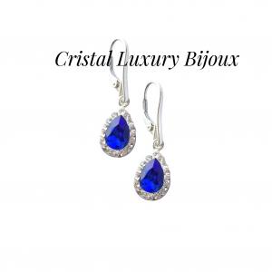 Cercei Luxury Pear cu tortita din argint si cristale Swarovski, mix alb albastru1