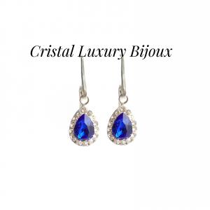Cercei Luxury Pear cu tortita din argint si cristale Swarovski, mix alb albastru0