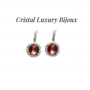 Cercei Luxury Round 12mm cu tortita din argint, cristale Swarovski mix roz antic si alb0