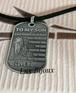 Colier snur cu placuta army din argint TO MY SON1