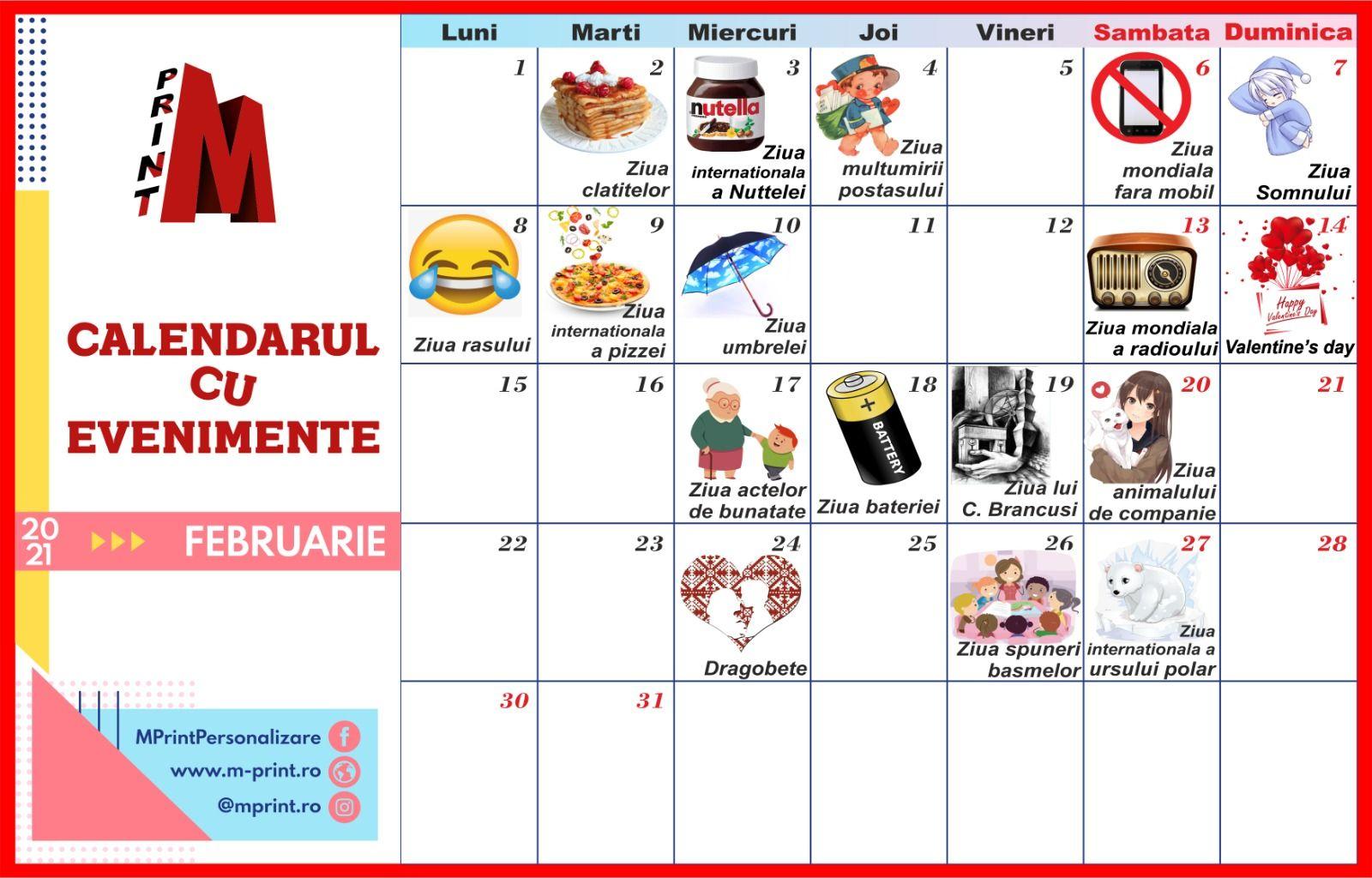 Calendarul cu evenimente al lunii Februarie 2021