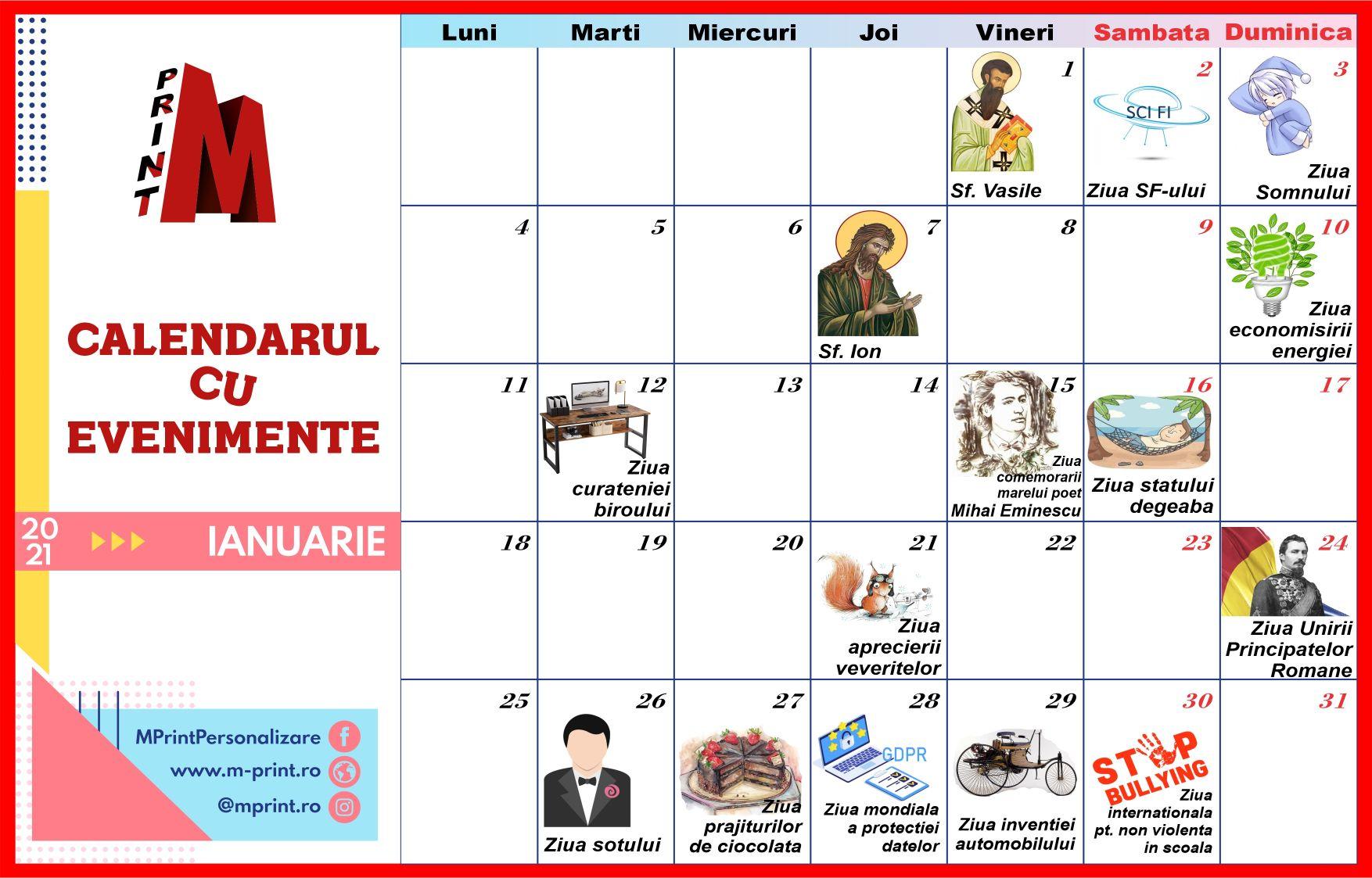 Calendarul cu evenimente al lunii Ianuarie 2021