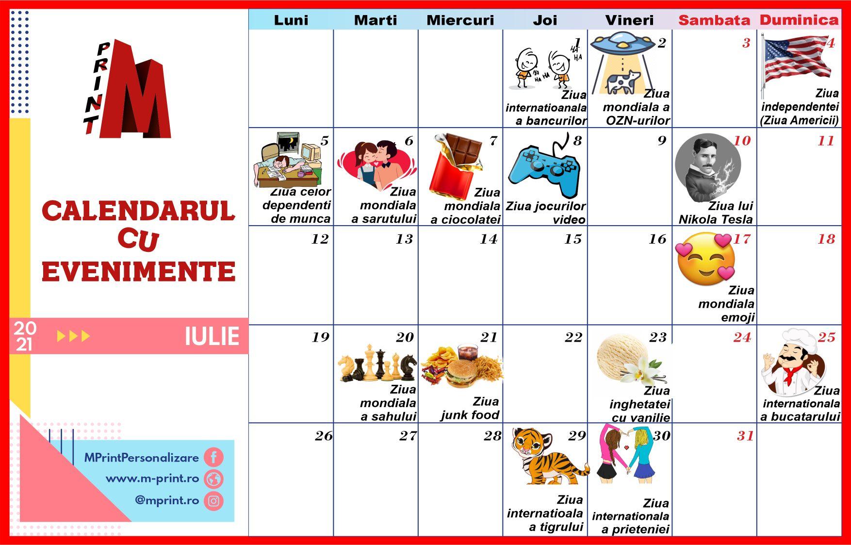 Calendarul cu Evenimente - Iulie 2021