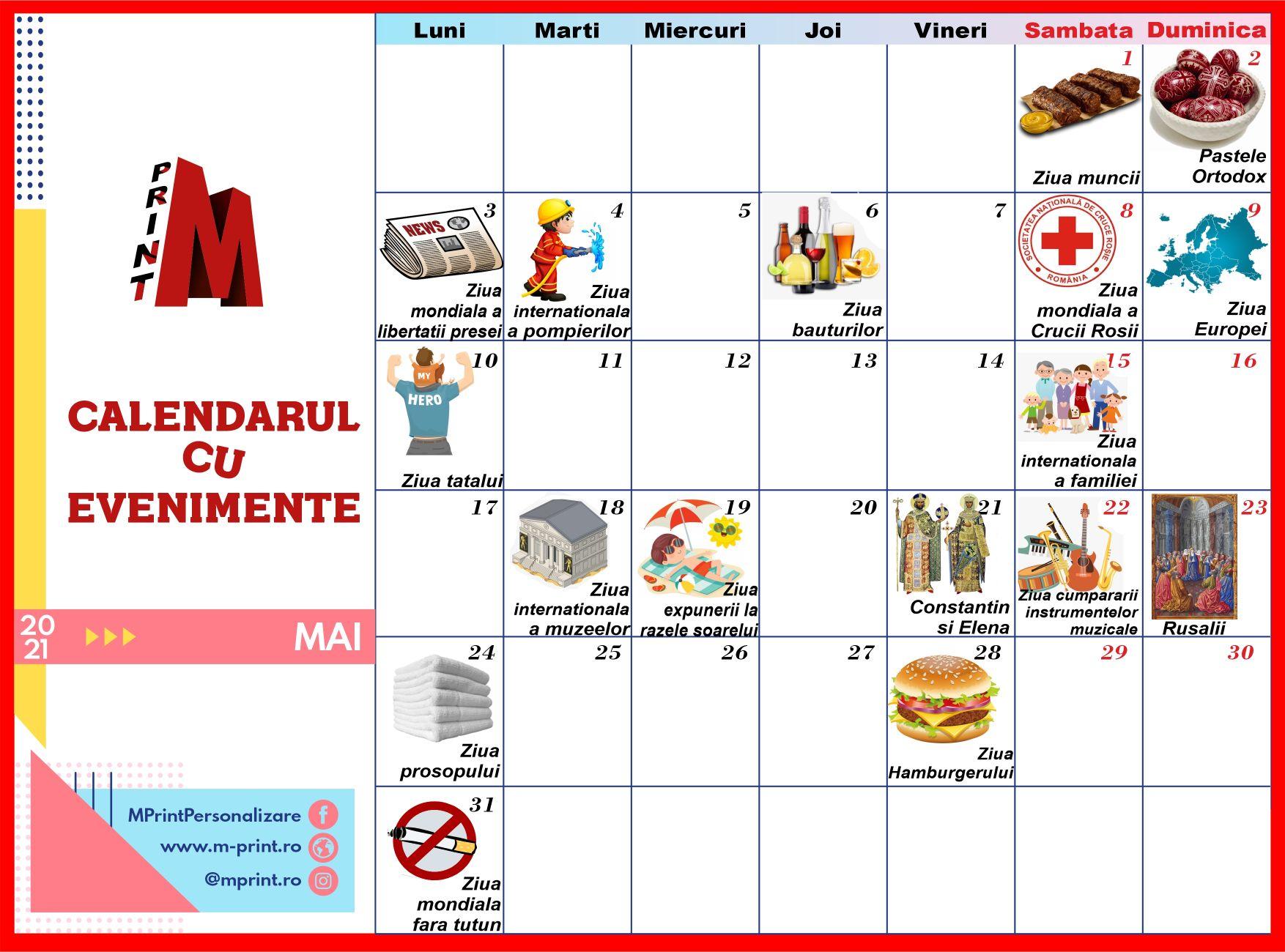 Calendarul cu idei - Mai 2021