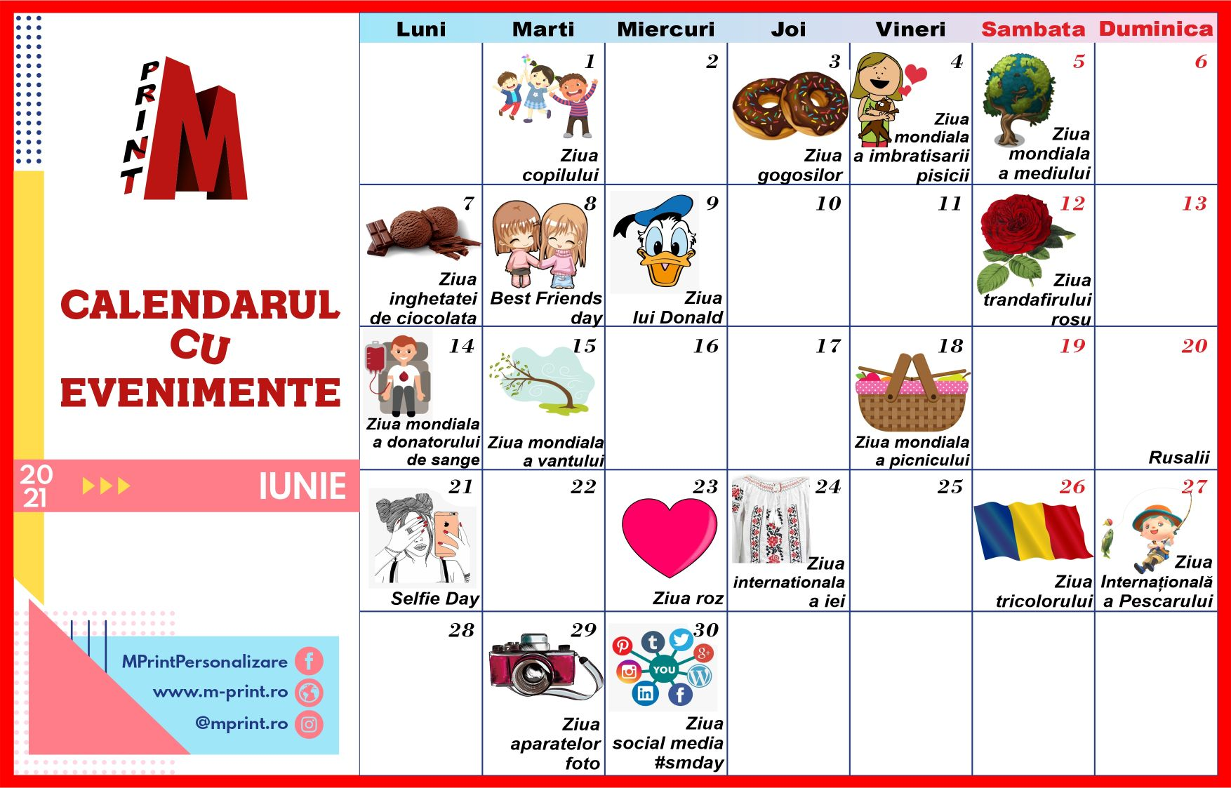 Calendarul cu Evenimente - Iunie 2021