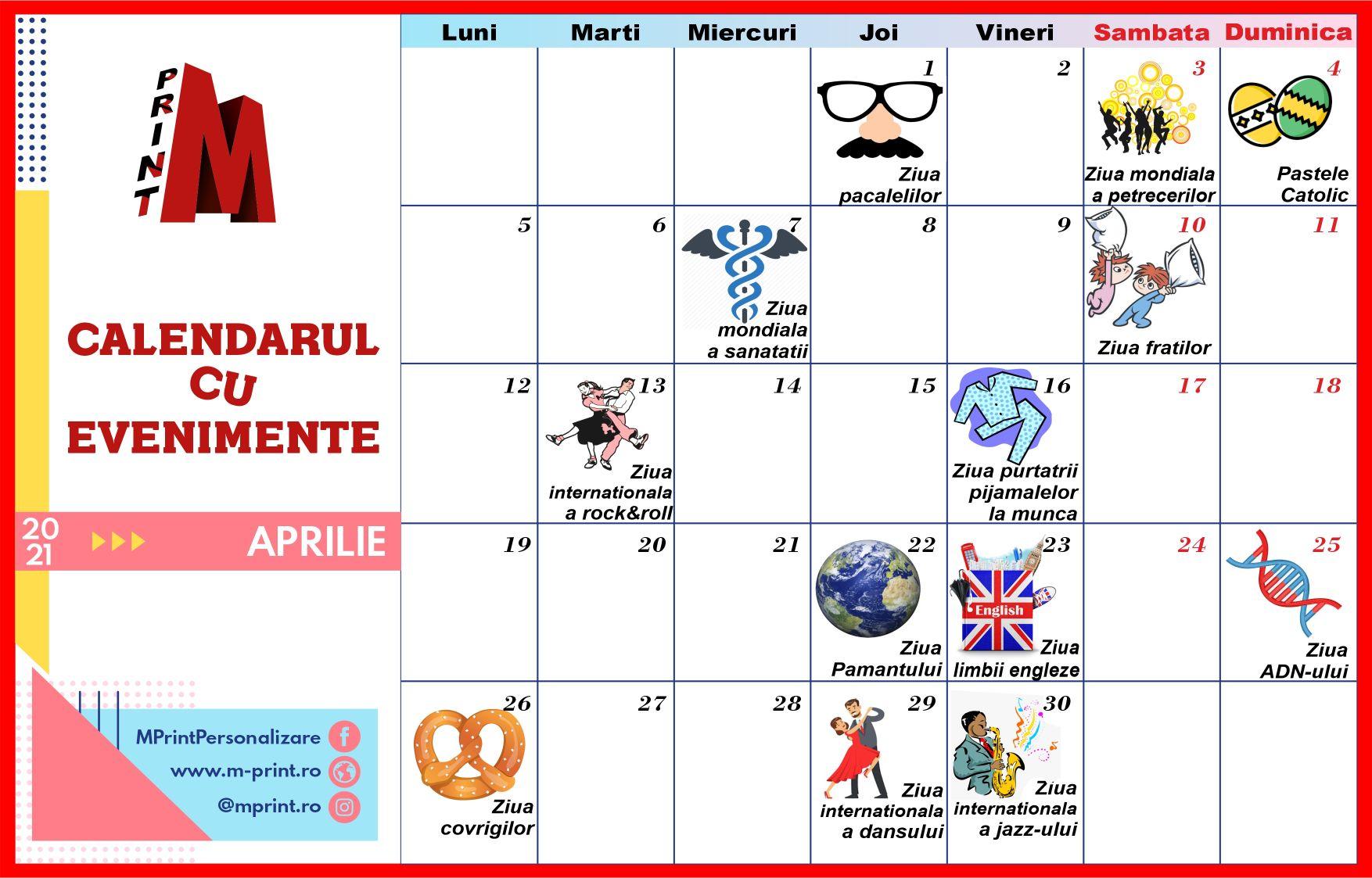 Calendarul cu evenimente al lunii Aprilie 2021