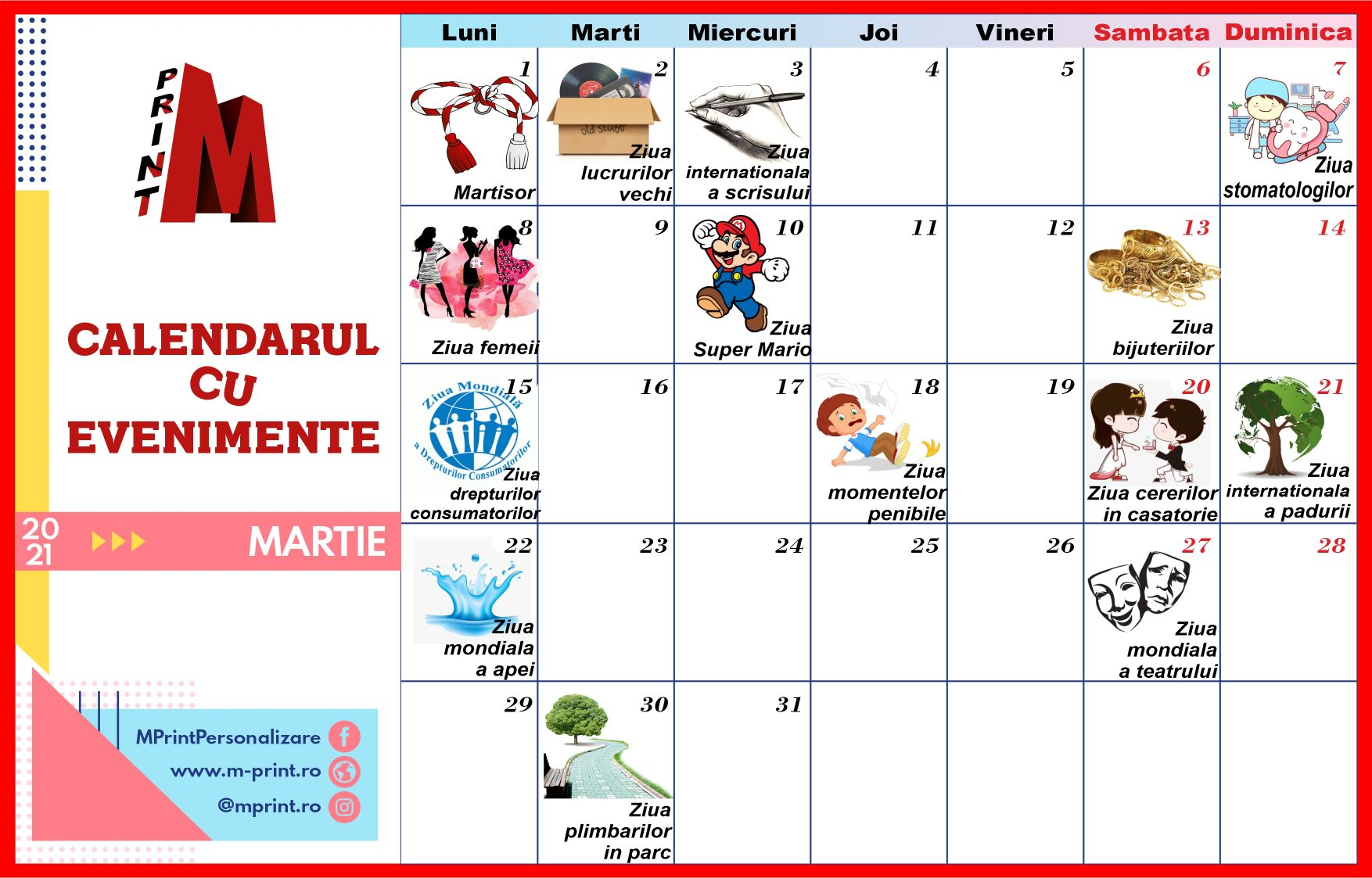 Calendarul cu evenimente al lunii Martie 2021