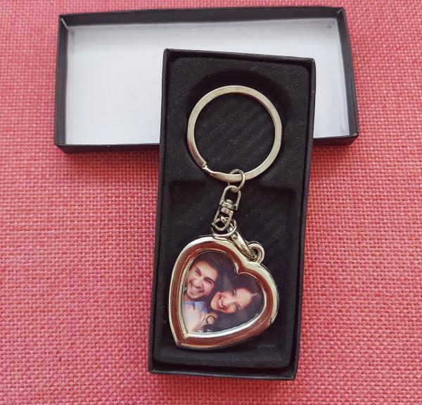 Breloc Metalic Personalizat Cu Poza - Inima 0