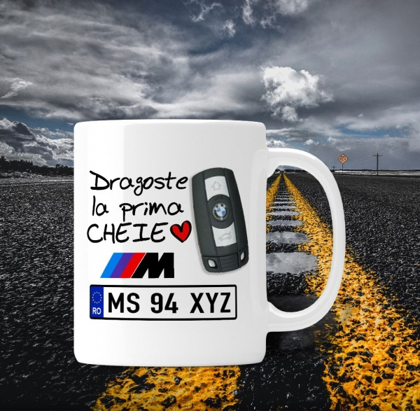 Cana personalizata Auto BMW - Dragoste La Prima Cheie 0