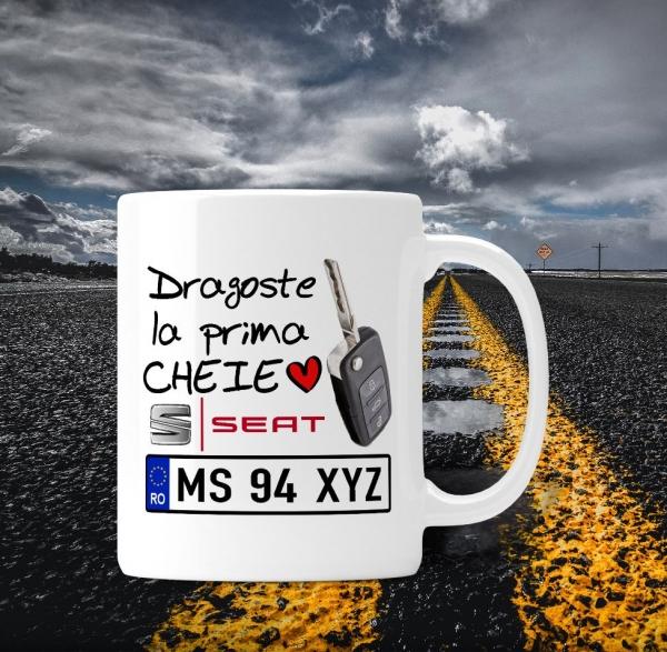 Cana personalizata Auto Seat - Dragoste La Prima Cheie 0