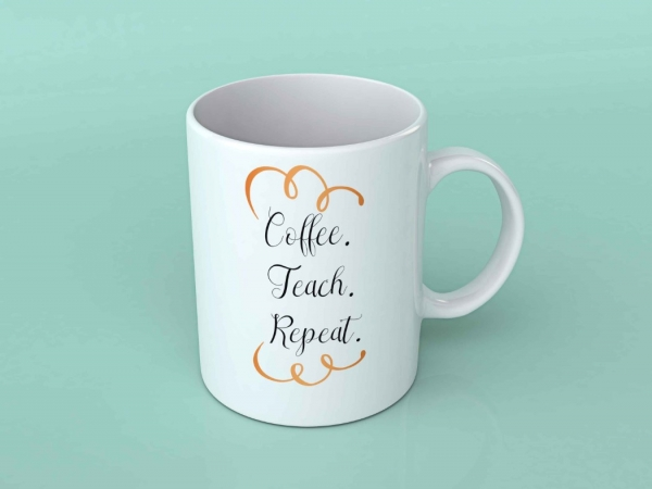 Cana personalizata - Coffee teach repeat 0