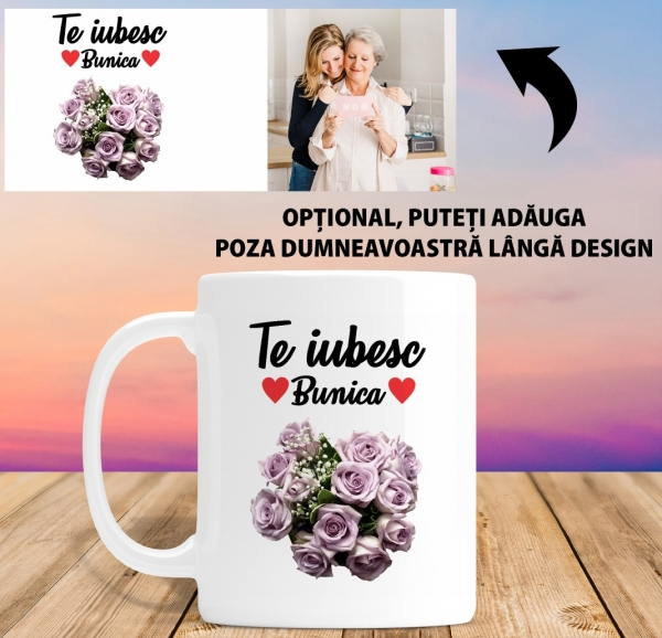 Cana personalizata Cu Poza - Te Iubesc Bunica 1