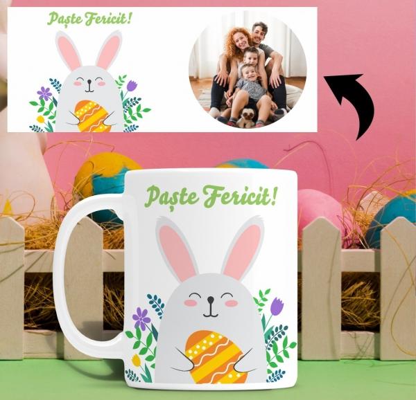 Cana personalizata de Paste Cu Poza - Paste Fericit! 1
