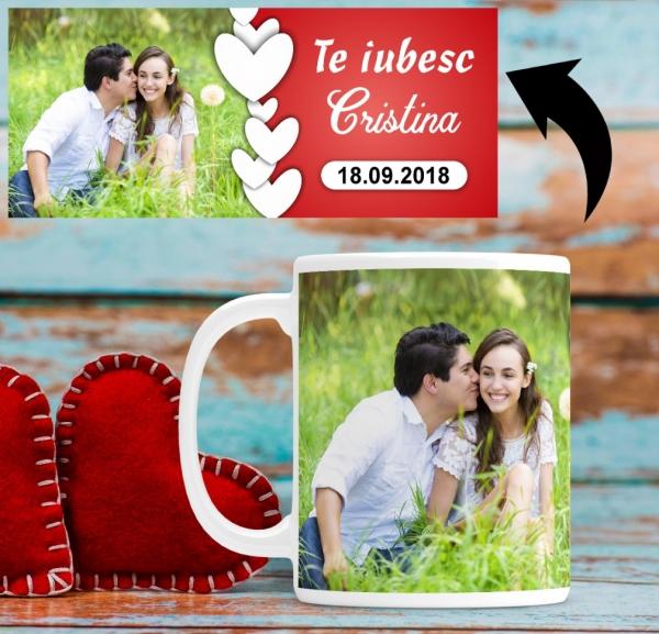 Cana personalizata cu poza si mesaj - Inimi 1