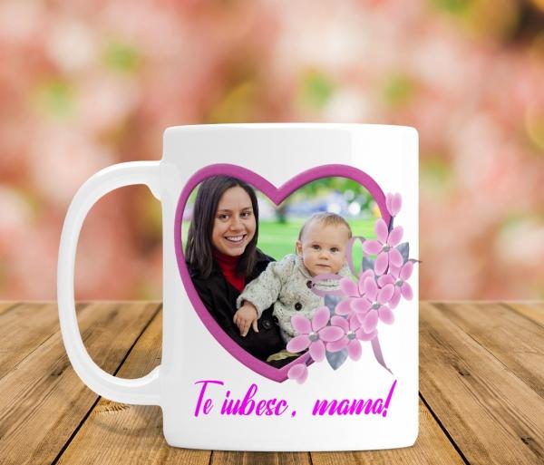 Cana personalizata Cu Poza - Te iubesc, Mama! 0