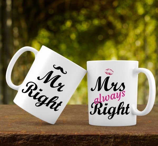 Cana personalizata - Mr and Mrs right 0