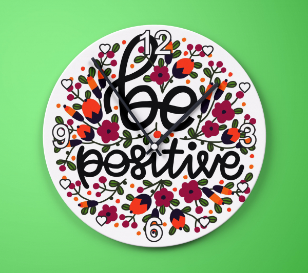 Ceas Sticla Personalizat Rotund - Be Positive 0