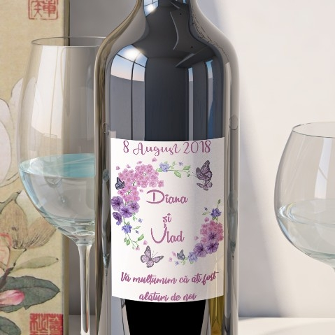 Eticheta Vin Personalizata - Floral 3 0