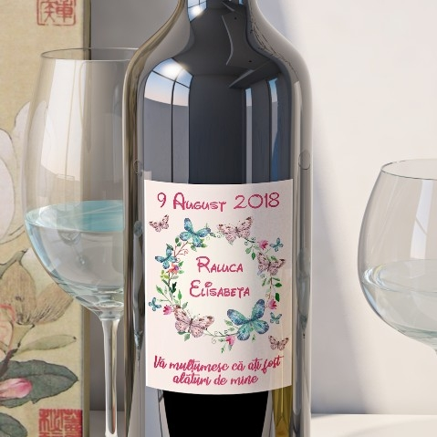 Eticheta Personalizata Vin Botez - Floral 0