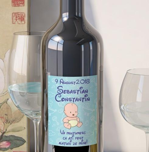 Eticheta Personalizata Vin Botez - Bebe Baietel 0
