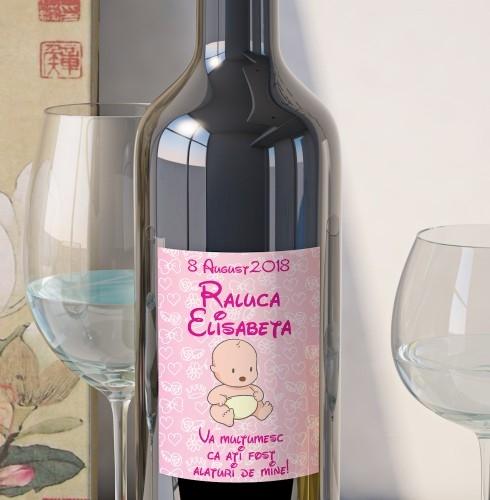 Eticheta Personalizata Vin Botez - Bebe Fetita 0