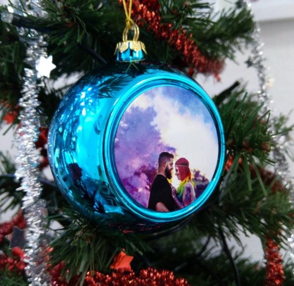 Glob Pentru Brad Cu Poza - Albastru 8cm Sublimabil 2
