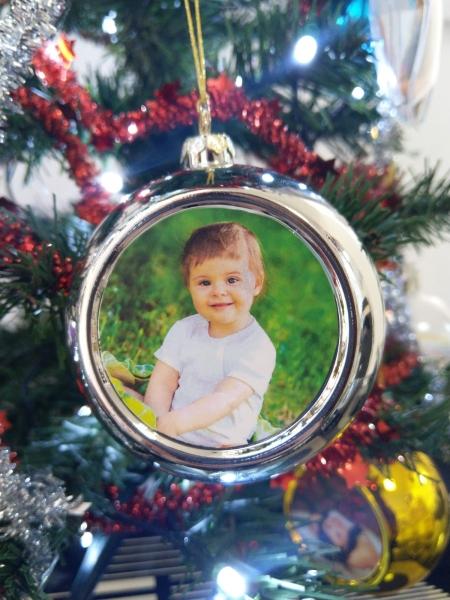 Glob Pentru Brad Cu Poza - Argintiu 8cm Sublimabil [2]