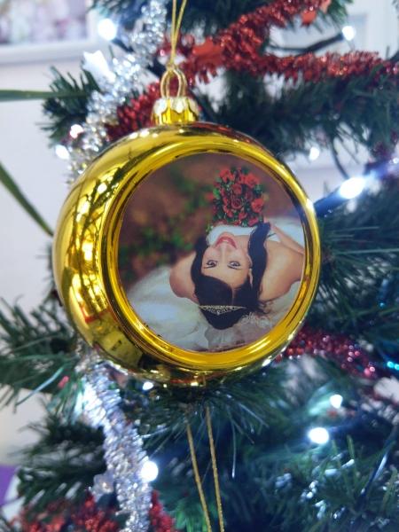 Glob Pentru Brad Cu Poza - Auriu 8cm Sublimabil 2