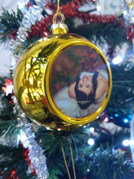 Glob Pentru Brad Cu Poza - Auriu 8cm Sublimabil 3