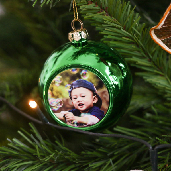 Glob Pentru Brad Cu Poza - Verde 8cm Sublimabil 0