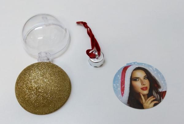 Glob Pentru Brad Cu Poza Rotund - Glitter Auriu 10cm 4