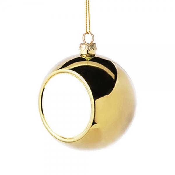 Glob Pentru Brad Cu Poza - Auriu 8cm Sublimabil 4