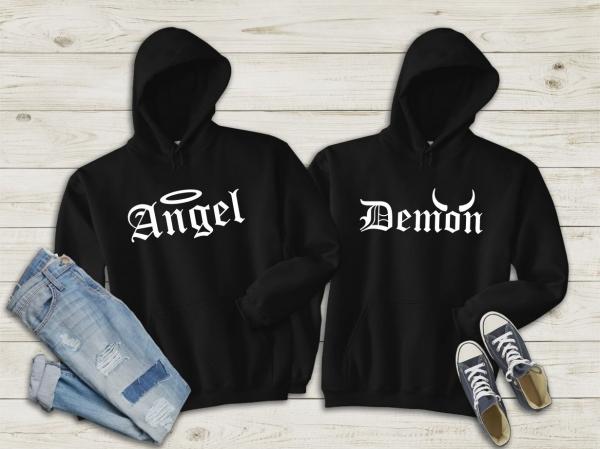 Hanorace cuplu personalizate - Angel and demon 0