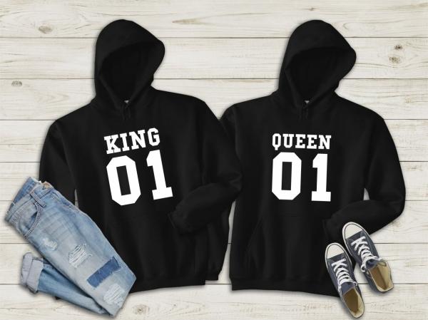 Hanorace cuplu personalizate - King and queen 3 0