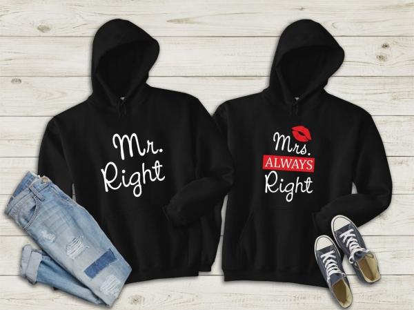 Hanorace cuplu personalizate - Mr. Right / Mrs. Right 0