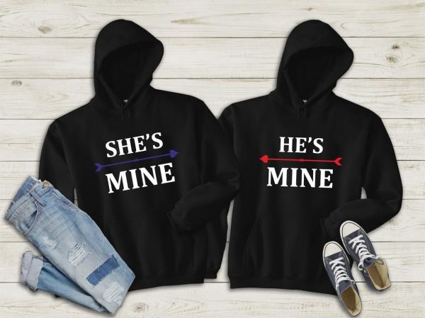 Hanorace cuplu personalizate - She's mine / He's mine 0
