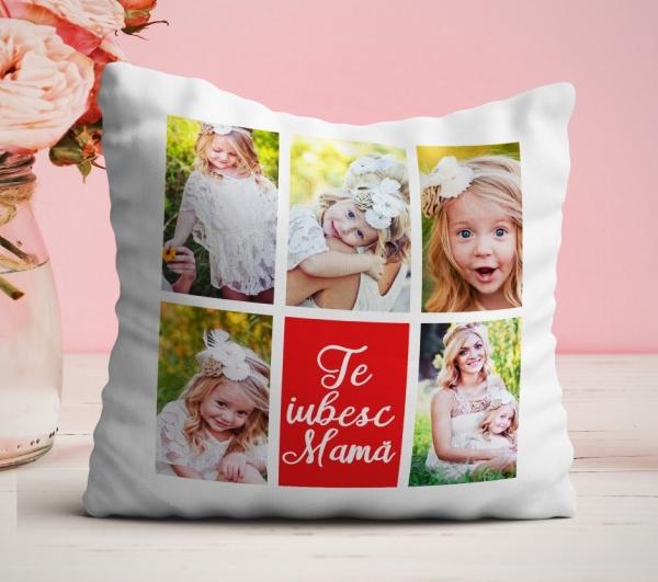 Perna personalizata cu 5 poze - Te iubesc mama [1]